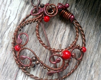 Red Shawl pin, scarf pin, copper shawl pin in circle form  - Wire Wrapped  scarf pin - Copper Wire Red Penannular Brooch