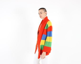 80s Rainbow Stripe Panel OVERSIZED Novelty Knit Multi-Colour Slouchy Cardigan / Sweater Jacket