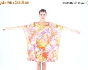 10,000 LIKES 7 Day Sale Floral Rayon Gauze Rainbow Kaftan Dress w/ Sweeping Sleeves