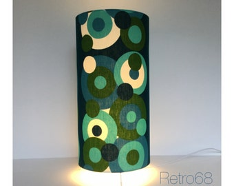 Vintage 60s 70s Blue Green  Psychedelic Fabric Table Lamp Floor Lamp