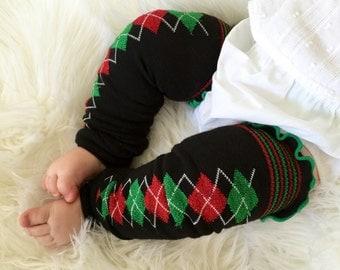 Christmas Argyle Baby Legs / Black Leg Warmers Green and Red/ Leggings