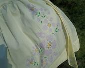 Vintage Yellow Half Apron, Mid Century Embroidered Purple Flowers, Light Cotton