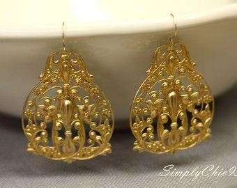 Art Deco Earrings, Very Large Earrings, Chunky Earrings, Brass, Filigree ,Gold Earrings,Boho Earrings,Tribal Jewelry,Bohemian, Fleur De lis