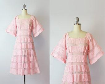 vintage 70s mexican dress / 1970s pink cotton sundress / pintuck crochet dress / angel sleeve dress / Mi Sueno dress