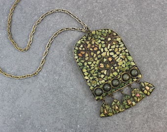 vintage 70s Indian mosaic necklace / 1970s mosaic tile pendant necklace / long bohemian necklace / handmade artisan stone necklace