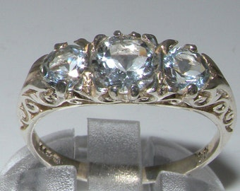 Solid 9K White Gold Natural Aquamarine Art Nouveau Carved Engagement Ring, English Antique Style 3 Stone Trilogy Ring - Customize:14K,18K