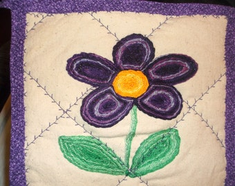 Perfectly purple flower potholder