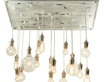 Cottage Chic Chandelier - Shabby Chic Chandelier, Vinatge Whitewashed Chandelier with Nostalgic Edison Bulbs, Bare Bulb Chandelier