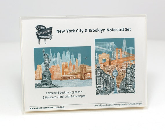 New York City & Brooklyn Notecard Set - full color - New York - 6 folded Greeting Cards