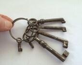 Antique French Skeleton Keys on Ring, Rare Cross Shape Skeleton Keys, 6 Keys on Ring