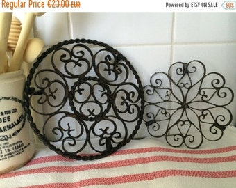 ON SALE Vintage Scrolled Wrought Iron French Trivets, Country French Kitchen, Set of 2