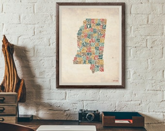 Mississippi by County - Typography Print
