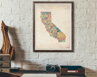 California by County - Typography Print