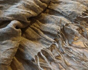 "Linen Scarf Natural Grey  Burlap Gauze Wrap 16 1/2""x74"" Washed Wrinkled"