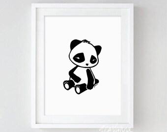 PRINT hand-drawn Illustration of a baby panda