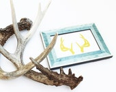 Gold Foil Print ANTLERS - Deer - Gallery Wall Metallic Decor Art Prints