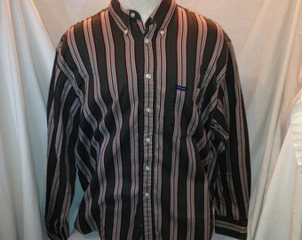 Mens Vintage Ivy Crew Stripped Long Sleeve Collared Shirt Size XL
