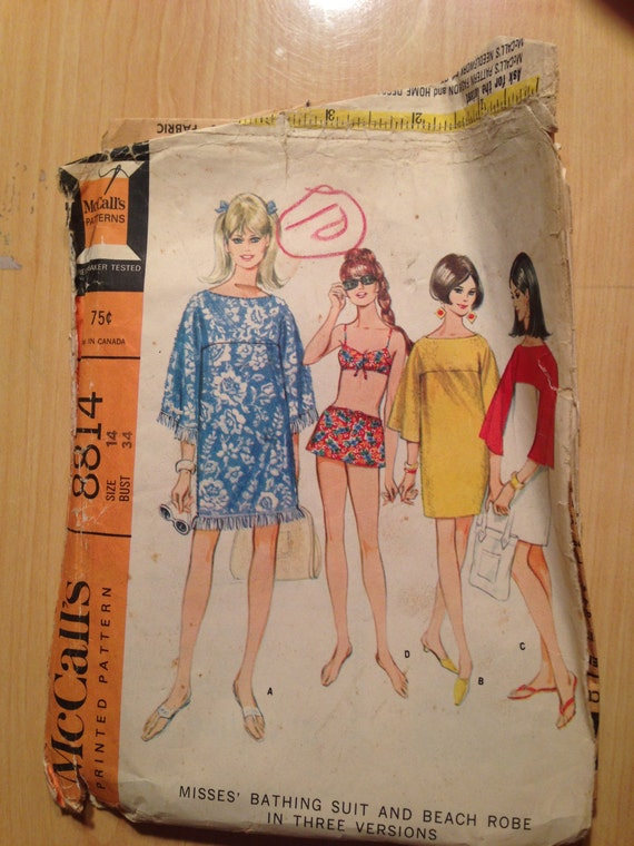 Misses Bathing Suit and Beach Robe McCalls Sewing Pattern 8814 60s Size 14
