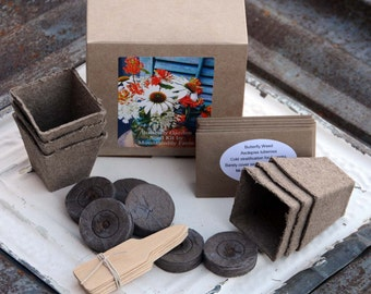Garden Kit, Butterfly Garden Seeds, Garden Seed Kit, Growing Supplies in Gift Box, Great Hostess Gift or Gift for Mom