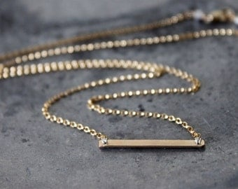 Gold Bar Necklace - 14k Gold Filled, Modern Minimalist, Simple Everyday Jewelry, Gold Sideways Bar, Gift for Her Under 30