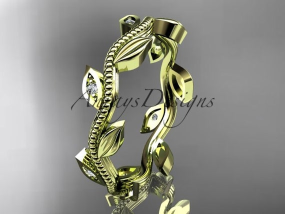 14kt yellow gold diamond leaf wedding ring, engagement ring, wedding band ADLR117B
