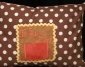 """Brown, Orange and Yellow Tooth Fairy Pillow Case with Pocket for Tooth - Polka Dots, Zipper - Fits 12"""" X 16"""" Pillow Form"""