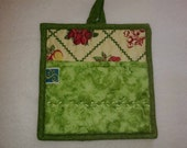9 X 8 Pale Yellow with Fruit, Pot Holder, Hot Pad, Oven Mitt, Insulated, Quilted, Pocket, Yellow, Green, Red, Kitchen