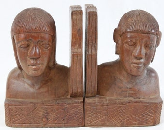 Vintage 50's/60's Carved Wood Bust Bookends Igorot Man Philippines Mid Century