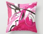 Throw Pillow, Abstract Art, Pink Dreams, pillow cover, Pink, Black and White