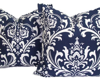 NAVY Pillows.SET of TWO.18x18, 20x20 or 16x16 inch.Decorative Pillow Covers.Home Decor.Housewares.Floral.Damask.Navy Blue Pillow Covers.Navy
