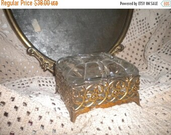 SUMMER SALE Beautiful Glass and Metal French Casket, French Boudoir, Jewelry box