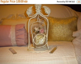 SUMMER SALE Shabby Chic Hanging Candle Holder and Candle,metal candle holder,cottage,cottage chic,Victorian,French country,Roses,wedding
