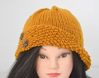 Hand Knit Cloche Hat Gold Yellow Jeweled Button Embellishments Classy Fashion Ladies Hat