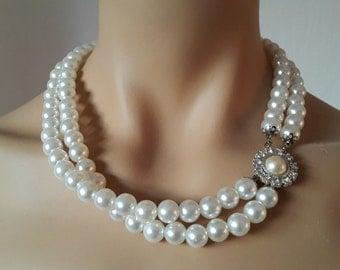 Pearl Necklace, Wedding Necklace, Bridal Jewelry with Swarovski Clasp Milano- FREE SHIPPING