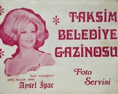 Vintage 1960s Turkish Concert / Casino Souvenir Photograph Card・Taksim, Istanbul・Aysel Ipar, Turkish Singer, Vintage B&W Photography, Family