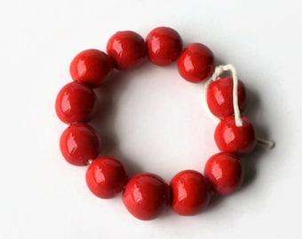 African beads, handmade African beads, ceramic beads,red pottery beads, shiny red beads,  beads, glazed beads, African bead set