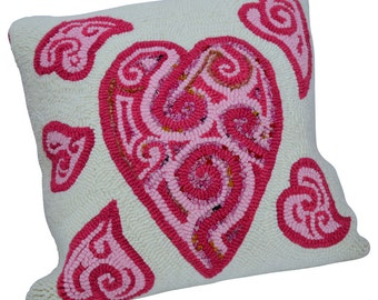 """15"""" x 15"""" Hooked Rug Pillow - """"Hearts & Chocolate in Pinks"""""""
