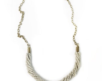 beige glass bead necklace