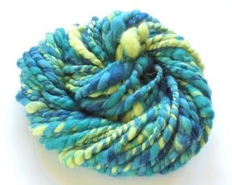 BLUES WITH POP - Handspun Yarn, Super Bulky Yarn, Chunky Merino Yarn, 2-Ply Yarn, Blue Yarn, Green Yarn, Merino Yarn, Saori Yarn, Knitting