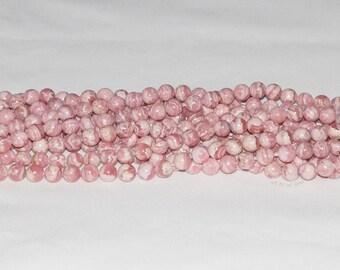 """Rhodochrosite (Argentina) 8-8.5mm Round Gemstone Bead -15.75"""" Strand"""