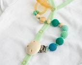 Wooden Pacifier Clip - Emerald Green/Petrol - Dummy Clip, Paci Holder - Baby Boy