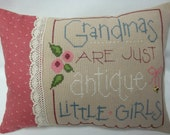 Grandma  Cross Stitched Mini Accent Pillow/Antique Little Girls
