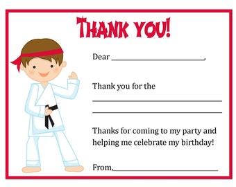 Thank You Card - Karate Boy Theme - Digital file - You print