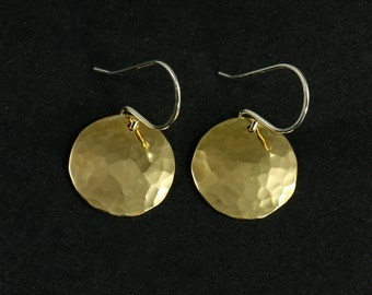 Medium Hammered NuGold Earrings, Drop Earrings, Hammered Earrings, Gold Tone Earrings