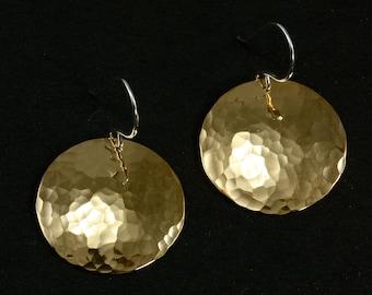 Large Hammered NuGold Earrings, Drop Earrings, Hammered Earrings, Gold Tone Earrings, Large Earrings