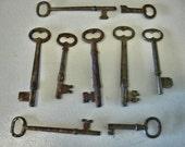 Vintage Lot 9 Skeleton Keys rustic Keys Door keys Furniture Keys  Lot no. 45KK