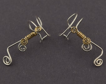 Sterling Silver Ear Cuff with Golden Scroll