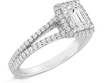 GIA Certified Emerald Diamond Engagement Ring 3.60ct Split Shank 18k White Gold