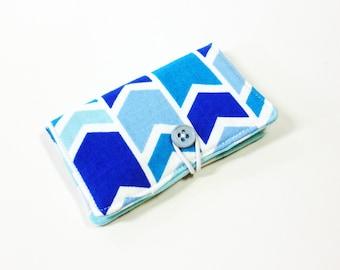Blue Multi Broken Chevron Fabric Business Card Holder, with Spa Sassari Chevron - Credit Card Holder, Cloth Card Holder, Gift Card Holder
