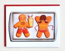 Sunbathing Gingerbread Christmas Card